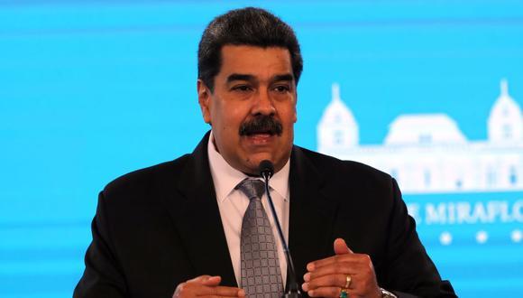 El presidente de Venezuela, Nicolás Maduro, habla en una rueda de prensa en el Palacio de Miraflores, en Caracas (Venezuela). (EFE/ Miguel Gutiérrez).