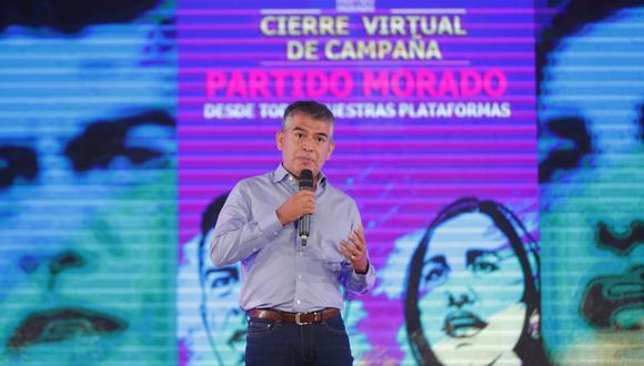 El candidato presidencial por el partido Morado, Julio Guzmán , realiza su cierre de campaña de manera virtual junto con su candidata a la vicepresidencia, Flor Pablo (Foto: Giancarlo Ávila )