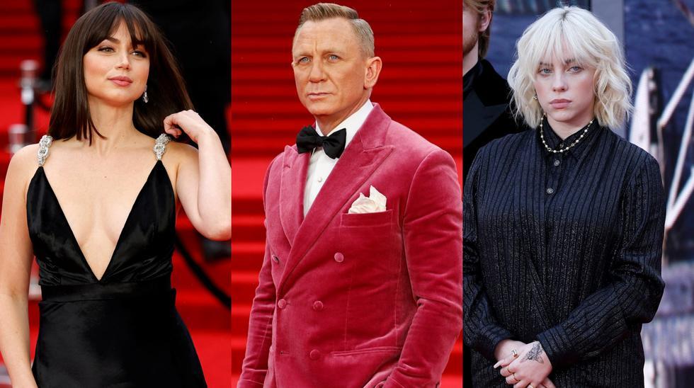 """Ana de Armas, Daniel Craig y Billie Eilish en la alfombra roja de """"No Time to Die"""" (""""Sin tiempo para morir""""), la nueva película del agente James Bond."""