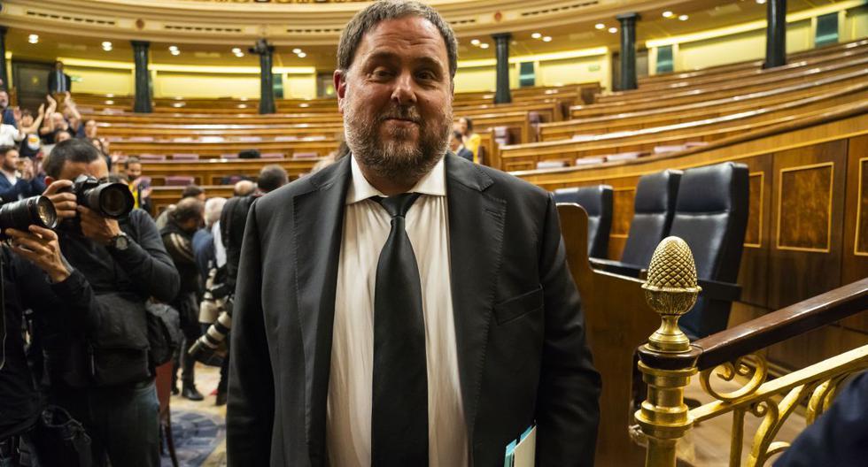 Una imagen de archivo de Oriol Junqueras, que es parte de 'Esquerra Republicana de Catalunya' - ERC (Izquierda Republicana de Cataluña), asistiendo a la primera sesión plenaria de la cámara baja del parlamento desde las elecciones generales. (AFP)