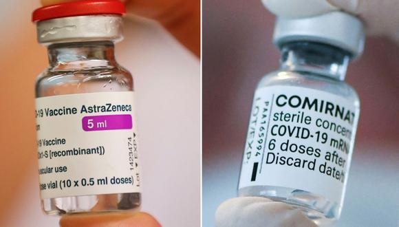 Esta combinación de imágenes creadas el 9 de abril de 2021 muestra una foto de un vial de la vacuna de AstraZeneca-Oxford y Pfizer. (Thomas SAMSON - INA FASSBENDER / AFP).