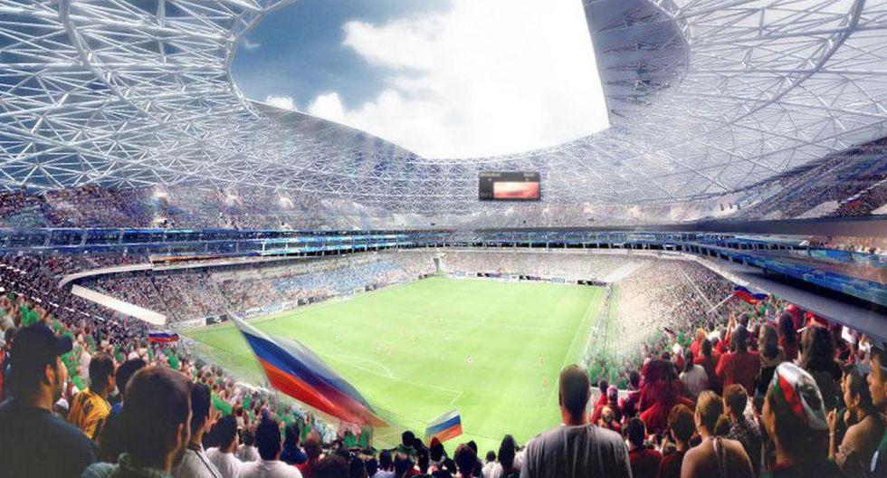 Kosmos Arena. Está ubicado en la ciudad de Samara. Fue remodelado para el Mundial. Tendrá partidos de la primera fase, octavos y cuartos de final. (Foto: Google Maps.)