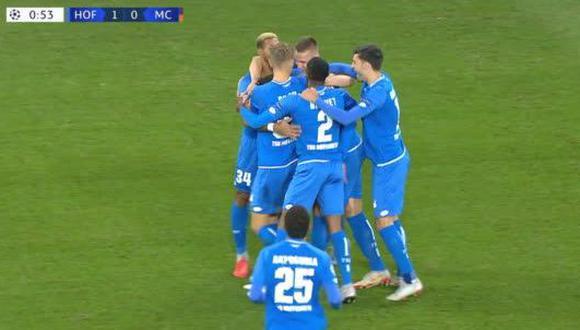 El duelo entre Manchester City y Hoffenheim, por la Champions League, brindó un gol instantáneo. Y fue obra del conjunto alemán. (Foto: captura de video)