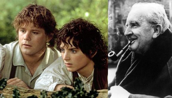 """A la izquierda, Sam (Sean Astin) y Frodo (Elijah Wood) en """"El señor de los anillos: la comunidad del anillo"""", que cumple 20 años este 2021. A la derecha, el autor de las novelas, J.R.R. Tolkien. Fotos: Warner Bros./ AFP."""