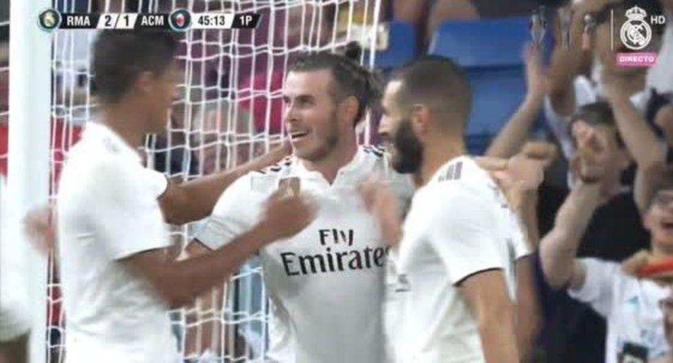 """Gareth Bale acaba de tomar el papel protagónico en el encuentro entre Real Madrid y Milan. El """"Expreso de Gales"""" firmó el segundo gol a favor de la 'Casa Blanca' por el Trofeo Santiago Bernabéu. (Foto: captura de pantalla)"""