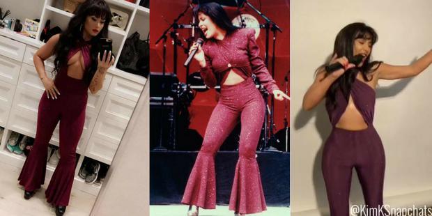 Kim Kardashian and Demi Lovato dress up as Selena.  (Photo: Demi Lovato and Kim Kardashian / Instagram)