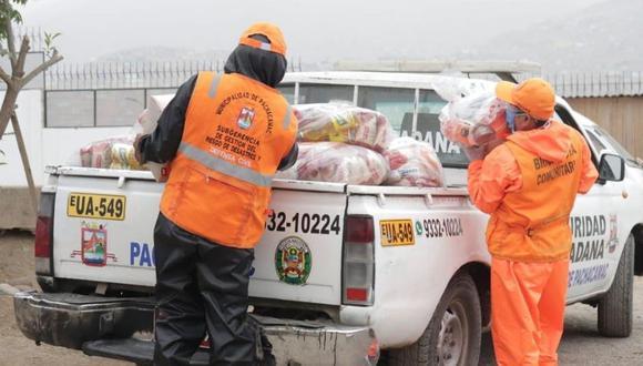 Las canastas entregados a los vecinos con COVID-19 contienen alimentos no perecibles. (Municipalidad de Pachacámac)