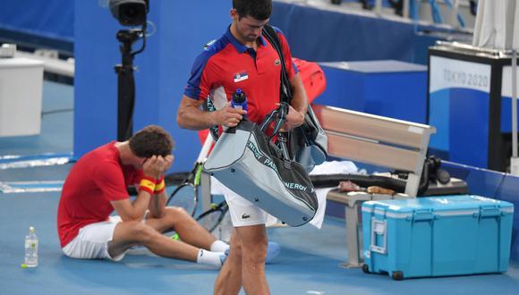 Novak Djokovic volvió a perder, antes ya había caído en dobles mixtos también en Tokio 2020. (Foto: AFP)