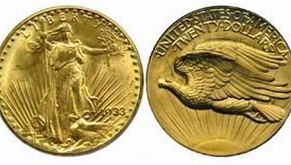 La moneda, de un dorado reluciente, fue diseñada por el conocido escultor Augustus Saint-Gaudens.
