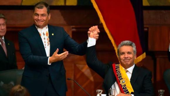 Antiguos aliados, Rafael Correa y Lenín Moreno han acabado muy enfrentados. La expulsión del fundador de WikiLeaks, Julian Assange, de la embajada de Ecuador en Londres es uno de los temas en los que discrepan. (Foto: AFP)