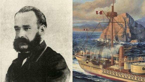 """Miguel Grau y el Monitor """"Huáscar"""", barco en el que perdió la vida durante el Combate de Angamos el 8 de octubre de 1879. (Fotos: Difusión)"""