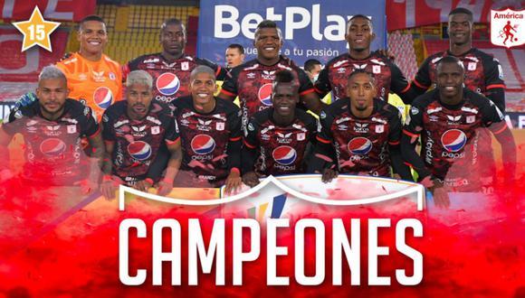 América de Cali se coronó bicampeón del fútbol profesional colombiano | Foto: @AmericadeCali