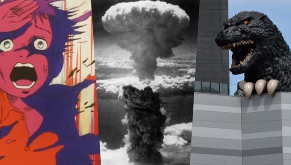 """En los extremos, un niño del anime """"Bareefoot Gen"""" y Godzilla; hijos de las bombas atómicas que marcaron para siempre a Japón en agosto de 1945. Fotos: Herald Enterprises/ Archivo AFP y  Toru Yamanaña para AFP."""