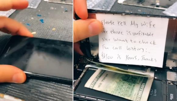 Un técnico de móviles encontró un singular mensaje cuando se disponía a reparar un celular. (Foto: @maniwarda / TikTok)