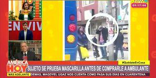 Coronavirus en Perú: sujeto se prueba mascarillas en plena vía pública