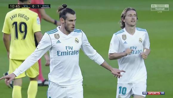 Gareth Bale, con un simple movimiento, eludió a los defensores del Villarreal para luego preparar un disparo rasante que significó la ventaja del Real Madrid. (Foto: captura de pantalla)