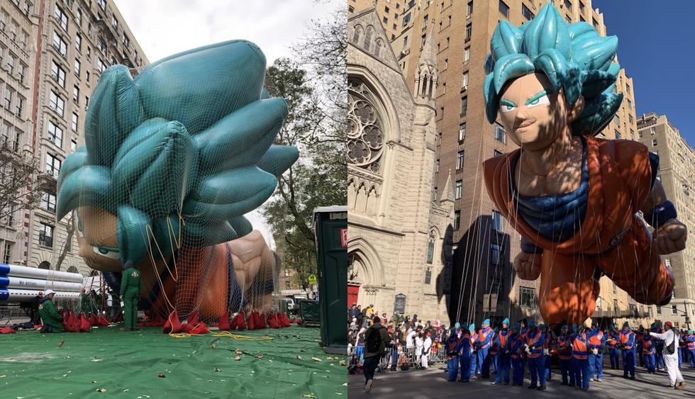 """El globo gigante muestra a Gokú como 'súper saiyajin blue', transformación vista en """"Dragon Ball Super"""". El desfile de Macy's es uno de los más grandes de Estados Unidos y el mundo. (Foto: Twitter @dragonballsuper)"""