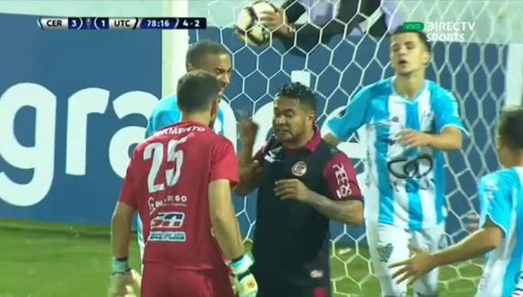 Cerro vs. UTC: empujones, insultos y el conato de bronca que terminó con dos tarjetas amarillas | VIDEO. (Video: DirecTV Sports / Foto: Captura de pantalla)