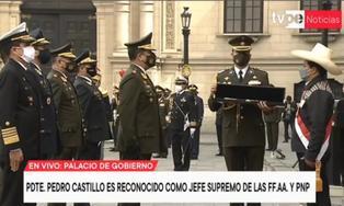 Pedro Castillo fue reconocido como jefe supremo de las Fuerzas Armadas y la Policía Nacional