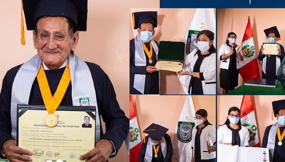 Sullana: anciano de 72 años terminó la universidad y obtuvo el grado de bachiller (Foto: Universidad Nacional de Frontera)