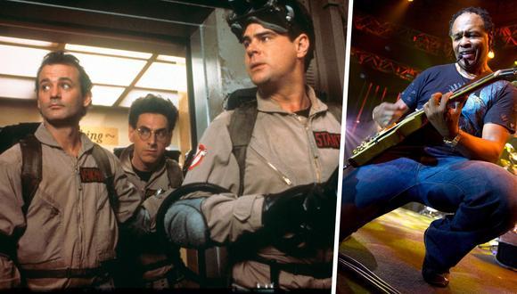 """A la izquierda Bill Murray, Harold Ramis y Dan Aykroyd; del elenco de """"Ghostbusters"""". A la derecha Ray Parker Jr., autor de la popular canción. Fotos: Columbia Pictures/ Fabrice Coffrini para AFP."""