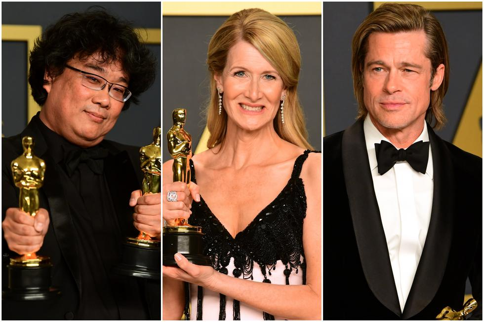 "Oscar 2020. De izquierda a derecha Bong Joon-Ho (""Parasite""), Laura Dern (""Marriage Story"") y Brad Pitt ""(Once Upon a Time in Hollywood""). Fotos: AFP."