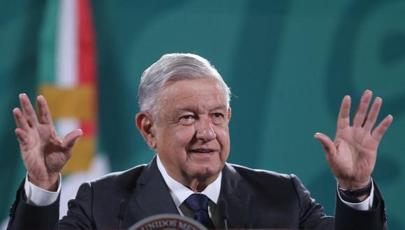 El presidente de México, Andrés Manuel López Obrador (AMLO), habla durante su conferencia de prensa matutina en el Palacio Nacional de la Ciudad de México (México). (Foto: EFE/Sáshenka Gutiérrez).