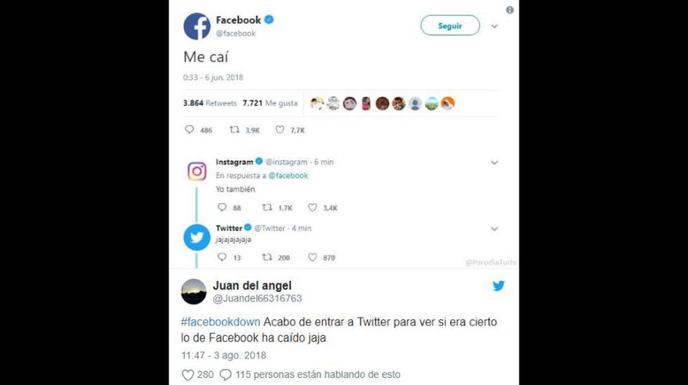 La caída de Facebook provocó divertidos memes. (Foto: Twitter)