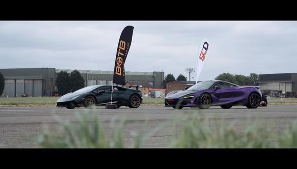 Los superdeportivos de McLaren y Lamborghini se enfrentaron a distintas pruebas para medir sus capacidades en pista. (Foto: YouTube).