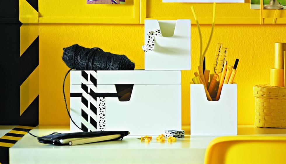Usa cajas organizadoras del mismo color o diseño para guardar tus documentos. (Foto: Ikea)