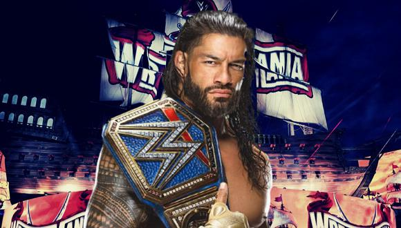 Roman Reigns retuvo su Campeonato Universal de WWE al enfrentarse en una triple amenaza a Daniel Bryan y Edge en el evento estelar de WrestleMania 37. | Crédito: WWE