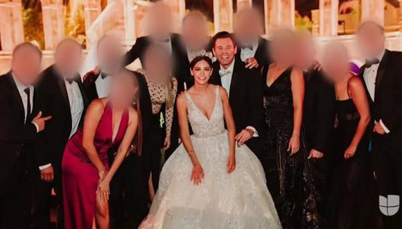 Medidas de prevención contra el coronavirus no se respetaron en boda entre el actor Armando Torrea y Laura Pérez en Mexicali, Baja California (México). (Captura de pantalla/Univisión).