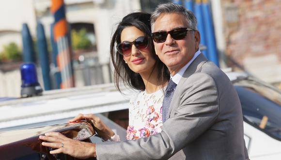 George Clooney y Amal Alamuddin en el día después de su boda