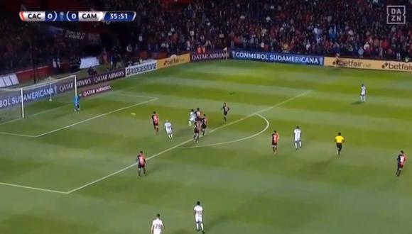 El atacante colombiano sacó provecho de un mal despeje de la zaga rojinegra de Colón y los brasileños se van al descanso con la ventaja en esta primera semifinal de Copa Sudamericana. (Foto: captura de video)