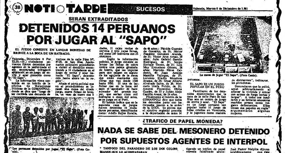 Por jugar 'sapo' unos 14 peruanos fueron detenidos en 1981