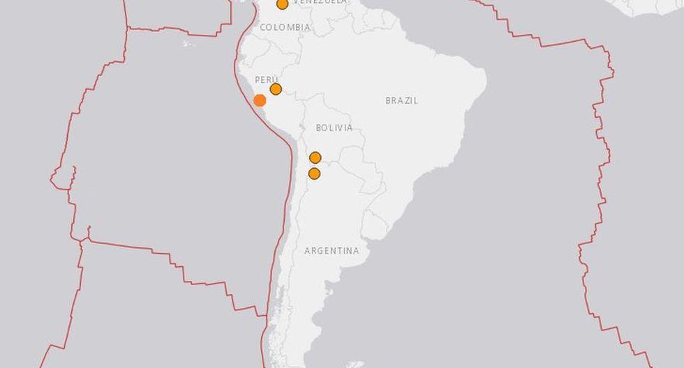 Cinco temblores sacudieron sudamérica este sábado. (Foto: Captura)