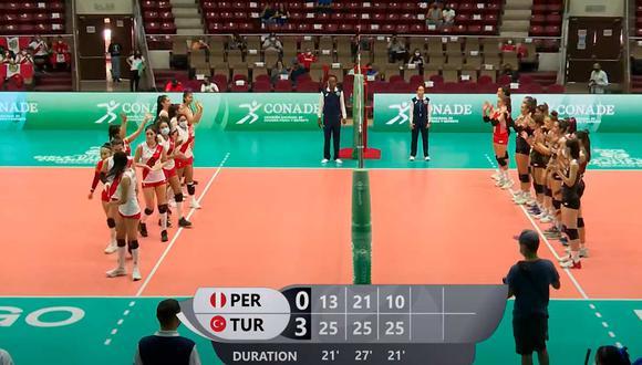 Perú perdió en tres sets ante Turquía por el Mundial Sub 18 | Foto: Captura.