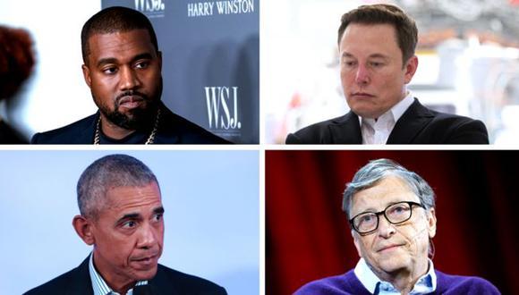 Kanye West, Elon Musk, Barack Obama y Bill Gates estuvieron entre los afectados. (Fotos: Getty Images)