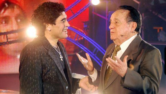 Chespirito fue entrevistado por Diego Armando Maradona en 2005, en el programa 'La Noche del 10', conducido por el 'Pelusa'. (Foto: Internet)