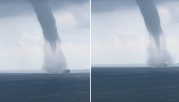 La embarcación quedó atrapada en medio del tornado, sin embargo la tripulación pudo ponerse a salvo. | Foto: ViralHog