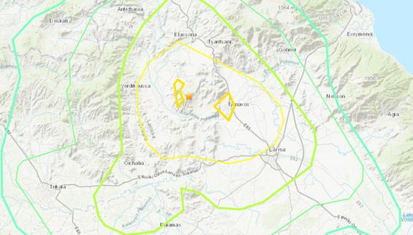 La televisión pública de Grecia informa de algunos deslizamientos en carreteras de la región. (Captura de pantalla / USGS).