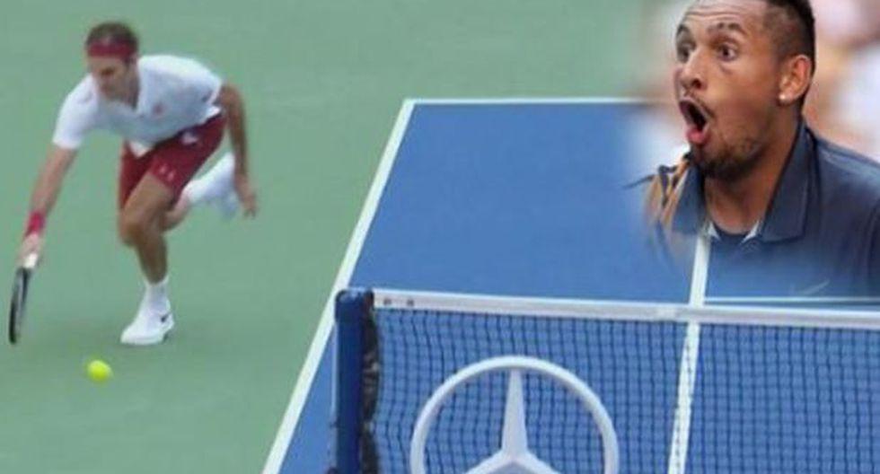 Roger Federer hizo el punto del año y dejó atónito a Nick Kyrgios. (Foto: ESPN)