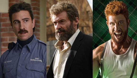 """A los extremos, Pablo Schreiber como sus personajes en """"Orange is the New Black"""" (izq.) y """"American Gods"""" (der.). Al centro, Hugh Jackman en la última película de Wolverine, """"Logan"""". (Fotos: Difusión)"""