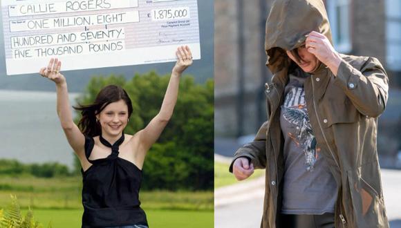 A la izquierda, Callie Rogers a los 16 años cuando ganó la millonaria lotería. A la derecha, a los 33 años tras perder toda su fortuna y ser detenida por un accidente de tránsito.  | Foto: PA/Richard Rayner