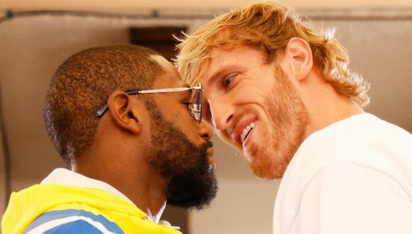 Floyd Mayweather y Logan Paul tuvieron espectacular careo antes de la pelea del fin de semana. (Foto: AFP)