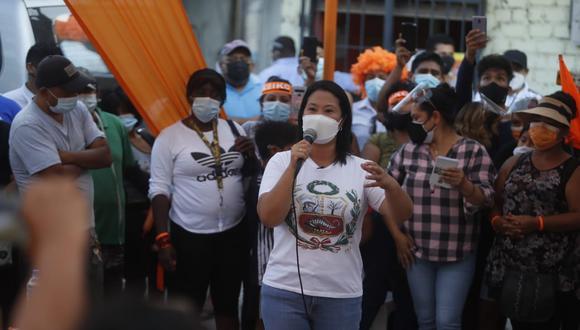 Keiko Fujimori visitó el martes la zona de Cantagallo, en el Rímac, como parte de su campaña. (Foto: Hugo Pérez / GEC)