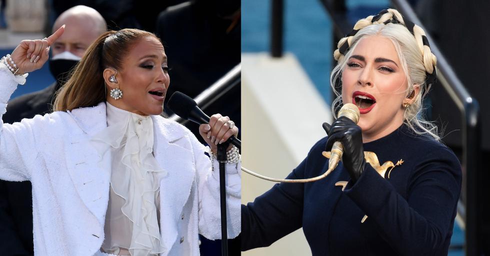 """Lady Gaga y Jennifer Lopez fueron las artistas elegidas para brindar una impecable performance en la toma de mando de Joe Biden en Estados Unidos. La cantante de """"Poker Face"""" estuvo encargada de entonar el himno estadounidense, mientras que la intérprete de """"Let's Get Loud"""" cantó el tema """"This Land Is Your Land"""", sumando un emotivo mensaje en español. (Fotos: AFP)"""