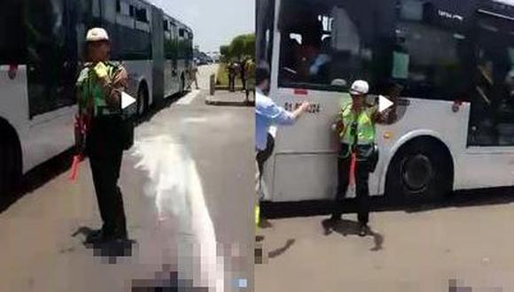 Según testigos e inspectores, la policía dirigía el tránsito de manera contraria al semáforo, que en el momento le daba pase al peatón (Captura de video).