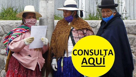 Un grupo de mujeres hace cola frente a un banco para cobrar el segundo bono de S/ 380 que está entregando el Gobierno peruano para ayudar a las familias perjudicadas por el coronavirus (Foto: Carlos Mamani / AFP)