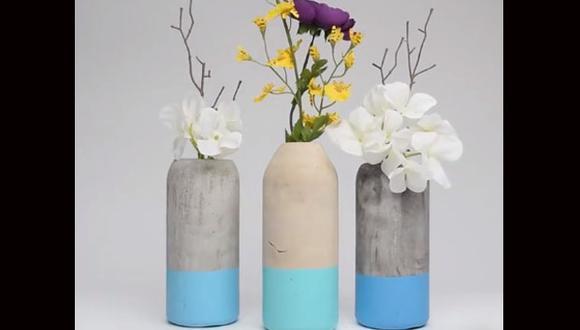 Teniendo al cemento como base, puedes crear originales floreros para tu hogar. (Foto: Facebook/ Blossom)
